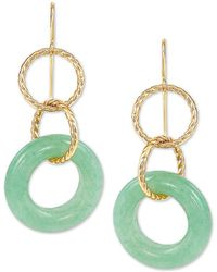 Macy's Jade Multi-ring Drop Earrings In 10k Gold