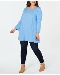 4799b045721 Lyst - Eileen Fisher Organic Cotton Patch-pocket Tunic in Gray