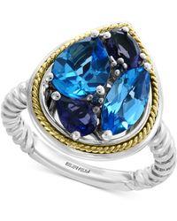 Effy Collection - Effy® Multi-gemstone Teardrop Ring (3-9/10 Ct. T.w.) In Sterling Silver & 18k Gold - Lyst