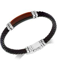 Effy Collection - Men's Tiger's Eye Brown Leather Bracelet In Sterling Silver - Lyst