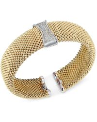 Macy's - Diamond Mesh Hinged Bangle Bracelet (1/3 Ct. T.w.) In 14k Gold-plated Sterling Silver - Lyst