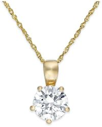 Arabella - Swarovski Zirconia Solitaire Pendant Necklace In 14k Gold (2 Ct. T.w.) - Lyst