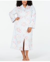 Miss Elaine - Plus Size Printed Brushed Fleece Zip Robe - Lyst