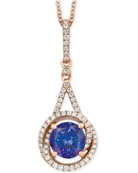 Le Vian - Tanzanite (1-1/5 Ct. T.w.) And Diamond (1/4 Ct. T.w.) Pendant Necklace In 14k Rose Gold - Lyst