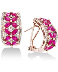 Effy Collection - Certified Ruby (2-3/4 Ct. T.w.) & Diamond (9/10 Ct. T.w.) Curved Drop Earrings In 14k Rose Gold - Lyst