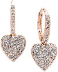 Danori - Silver-tone Cubic Zirconia Heart Drop Earrings - Lyst