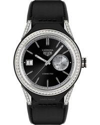 Tag Heuer - Men's Swiss Carrera Diamond Accent Black Calfskin Strap Smart Watch 45mm Sbf8a8011.62ft6079 - Lyst