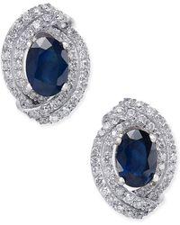 Macy's - Sapphire (2 Ct. T.w.) And Diamond (5/8 Ct. T.w.) Stud Earrings In 14k White Gold - Lyst