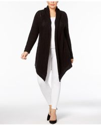 Style & Co. - Plus Size Shawl-collar Open-front Pointelle Cardigan - Lyst