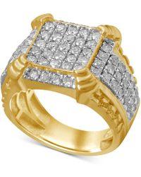 Macy's - Diamond Cluster Ring (2-1/4 Ct. T.w.) In 10k Gold - Lyst