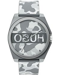 BOSS - Hugo Unisex #play Gray Camo Rubber Strap Watch 40mm - Lyst