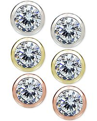 Giani Bernini   3-pc. Set Cubic Zirconia Bezel Stud Earrings In Sterling Silver, 18k Gold-plated And 18k Rose Gold-plated Sterling Silver   Lyst