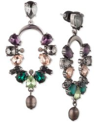 Carolee - Hematite-tone Crystal & Freshwater Pearl (7x9mm) Cascade Drop Earrings - Lyst