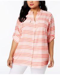 CALVIN KLEIN 205W39NYC - Plus Size Striped Tunic Shirt - Lyst