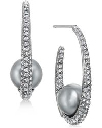 Danori | Hematite-tone Pavé & Gray Imitation Pearl Hoop Earrings | Lyst