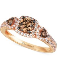 Le Vian - Chocolate And White Diamond Three-stone Ring In 14k Rose Gold (1 Ct. T.w.) - Lyst