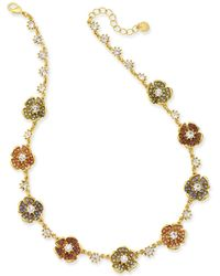 """Charter Club - Gold-tone Multi-stone Flower Necklace, 18"""" + 2"""" Extender, Created For Macy's - Lyst"""