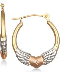 Macy's - Tri-color Winged Heart Hoop Earrings In 10k Gold - Lyst