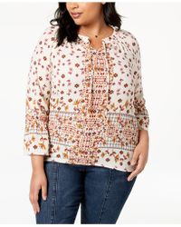 Style & Co. - Plus Size Mixed-print Peasant Top, Created For Macy's - Lyst