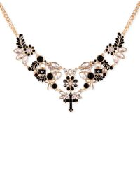 "Guess - Gold-tone Jet Stone & Crystal Statement Necklace, 16"" + 2"" Extender - Lyst"