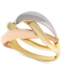 Macy's - Tri-color Interlocking Ring In 14k Gold, White Gold & Rose Gold - Lyst