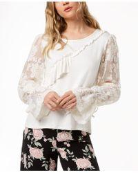 Kensie - Ruffled Lace-sleeve Jumper - Lyst
