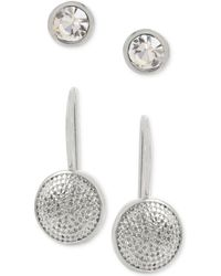 Touch Of Silver | 2-pc. Set Crystal Stud And Textured Drop Earrings In Gold-plate | Lyst