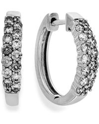 Macy's - Diamond Two-row Hoop Earrings In 14k White Gold (1/2 Ct. T.w.) - Lyst