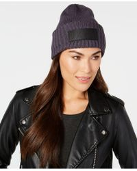 2c8b399c345 Lyst - Dkny Faux Fur   Knit Beanie in Brown