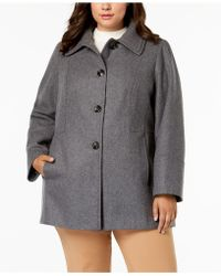 London Fog - Plus Size Layered-collar Peacoat - Lyst