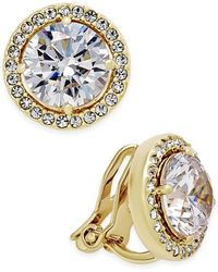 Danori - Gold-tone Bezel-set Crystal Clip-on Earrings - Lyst