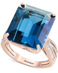 Effy Collection - London Blue Topaz (14-9/10 Ct. T.w.) & Diamond (1/4 Ct. Tw.) Ring In 14k Rose Gold - Lyst