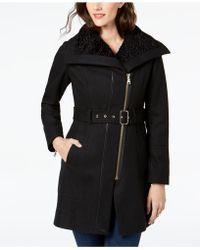 Guess - Asymmetrical Faux-fur-lined Walker Coat - Lyst