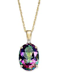 Macy's - Mystic Topaz (7-1/3 Ct. T.w.) And Diamond Accent Oval Pendant Necklace In 14k Gold - Lyst
