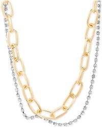 "Steve Madden - Two-tone Link & Crystal Layered Collar Necklace, 15"" + 2"" Extender - Lyst"