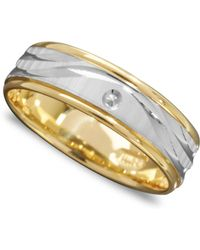 Macy's - Men's 14k Gold And 14k White Gold Ring, Wave Engraved Band - Lyst