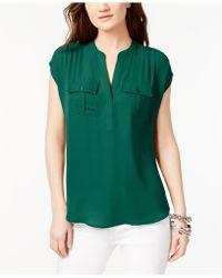 INC International Concepts - Dolman-sleeve Mixed-media Utility Shirt - Lyst