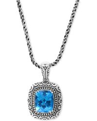 Effy Collection - Blue Topaz (6-2/3 Ct. T.w.) Pendant Necklace In Sterling Silver - Lyst