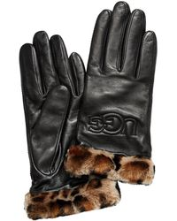 UGG - Classic Leather & Shearling Logo Gloves - Lyst
