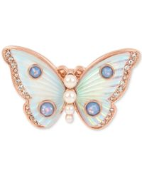Betsey Johnson - Rose Gold-tone Crystal & Imitation Pearl Butterfly Ring - Lyst
