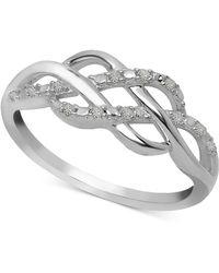 Macy's - Diamond Open Weave Ring (1/10 Ct. T.w.) In Sterling Silver - Lyst