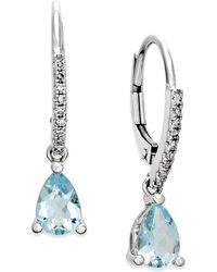 Macy's - Aquamarine (1-1/10 Ct. T.w.) And Diamond (1/10 Ct. T.w.) Drop Earrings 14k White Gold - Lyst