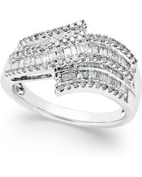 Macy's - Diamond Wave Ring (1/2 Ct. T.w.) In Sterling Silver - Lyst