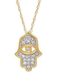 Macy's - Diamond Hamsa Pendant Necklace (1/10 Ct. T.w.) In 10k Gold - Lyst