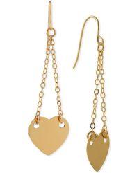Macy's - Heart Chain Drop Earrings In 14k Gold - Lyst