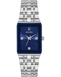 Bulova - Women's Diamond-accent Stainless Steel Bracelet Watch 21x32mm - Lyst