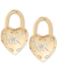 Michael Kors - Two-tone Logo Heart Padlock Stud Earrings - Lyst