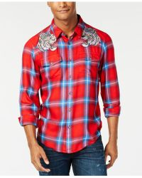 Guess - Tiger Plaid Shirt - Lyst