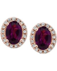 Effy Collection - Rhodolite Garnet (1-1/10 Ct. T.w.) And Diamond (1/8 Ct. T.w.) Stud Earrings In 14k Rose Gold - Lyst