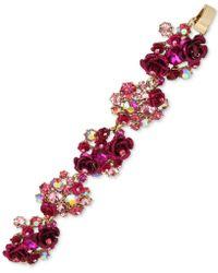 Betsey Johnson | Gold-tone Pink Stone & Flower Cluster Flex Bracelet | Lyst
